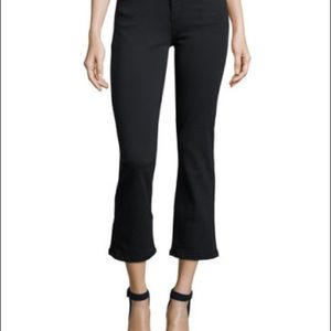 Current Elliott Jeans Kick Crop Raw Hem Jet Black